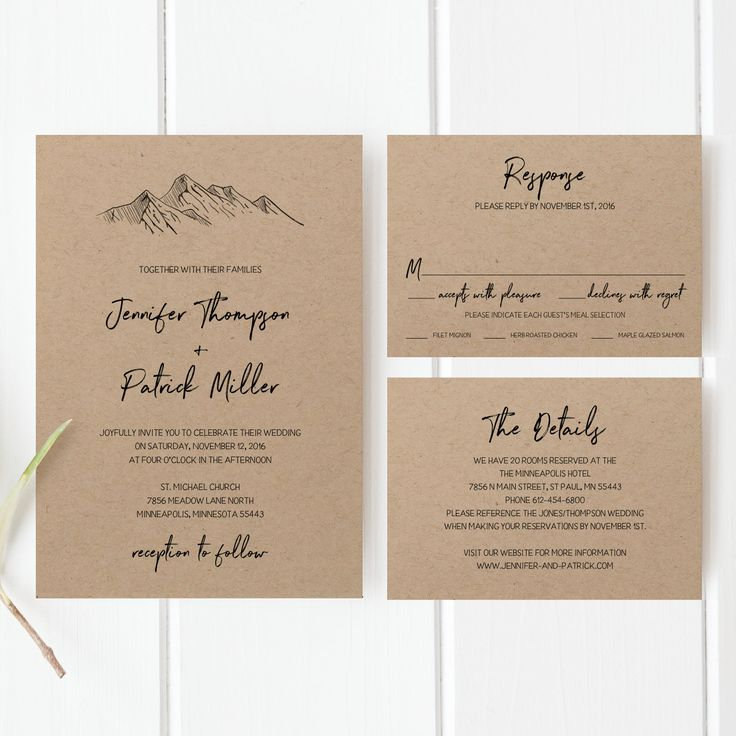 free online printable wedding thank you cards%0A Printable Wedding Invitation Template Set  Mountain Wedding Invitation   Mountain Wedding Invitation  Kraft Paper