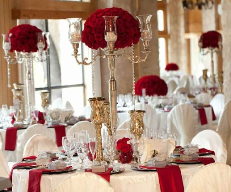 215 best red black silver wedding images on pinterest black wedding bands bridal flowers and - Red and silver centerpiece ideas ...