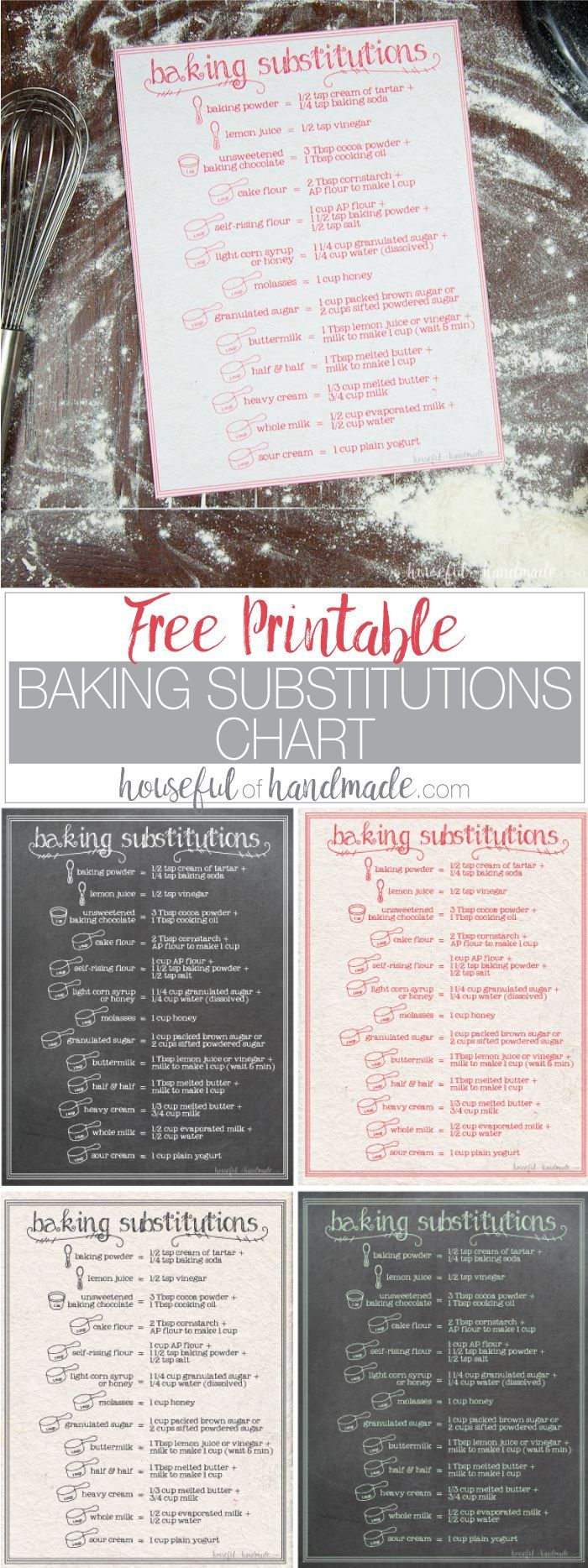I need this for my kitchen! If you love to bake, but hate running to store for last minute ingredients, this free printable baking substitutions chart is perfect for you. There are a variety of ingredient substitutions so you can keep baking even when you are out of something. | http://Housefulofhandmade.com