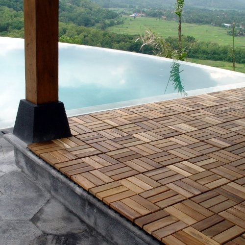 Le click windmill teak 12 x 12 interlocking decking tiles in le click windmill teak 12 x 12 interlocking decking tiles in natural set of 10 wood floor coverings amazon for the home pinterest ppazfo