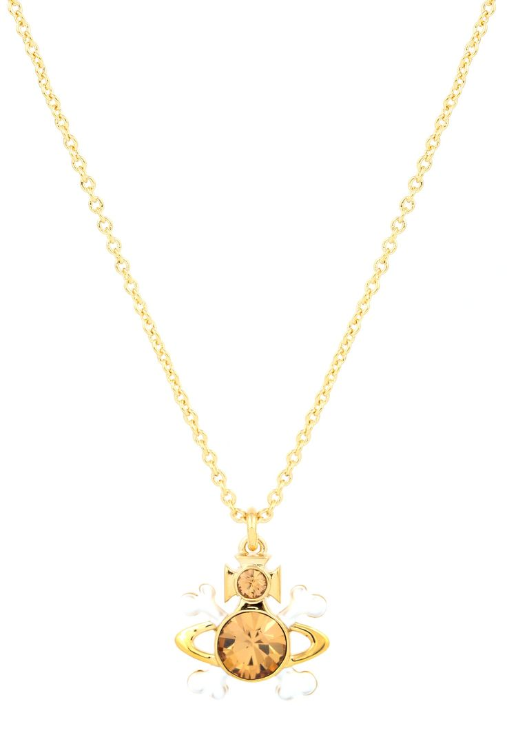 Vivienne Westwood Kali Pendant in gold.  Vivienne Westwood blends her signature crossbones with the iconic Orb emblem with her new Kali jewellery range.  The gold and white pendant is centred around a large Light Colorado Topaz crystal with a smaller one above and hangs from a delicate chain.