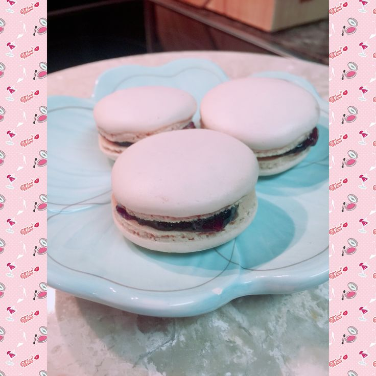 Macarons with black cherry filling