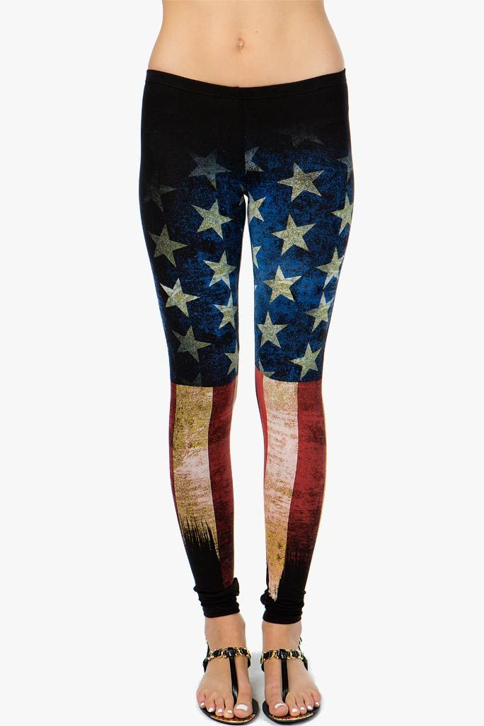 Cotton leggings with a rad distressed American flag printed body. Pull-on elastic waist. BOUTIQUE FIVE.