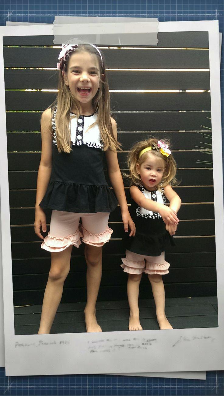 Adorable ruffle shorts with black ruffled peplum top