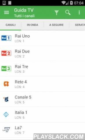 TV Guide Italy FREE  Android App - playslack.com ,  The first TV Guide with Vcast support!TV Guide Italy brings the complete TV schedules of the next 7 days for more than 70 Italian channels: see what's on TV or scheduled for prime time, or look for a program with the search functionality.And with the new features, following your favorite TV programs is now easier than ever:* TV recorder: record your favorite shows, and watch them later on your device* Live: read and write tweets about your…