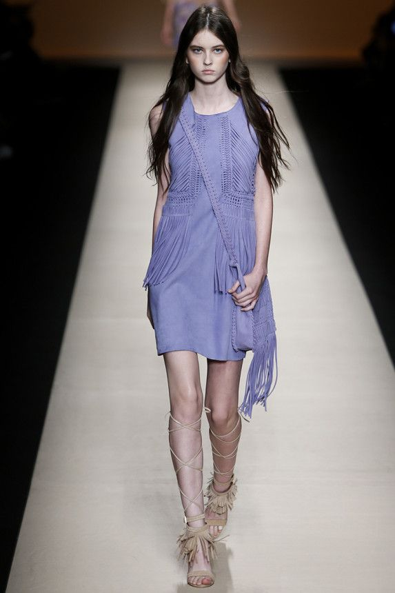 This lilac dress. In suede. With fringe. Alberta Ferretti Spring 2015 RTW. #mfw #AlbertaFerretti #spring2015