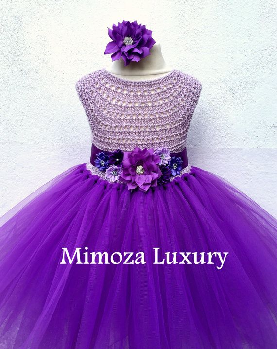 Purple Flower girl dress purple tutu dress bridesmaid dress