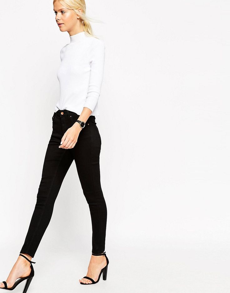 Image 1 of ASOS Ridley Skinny Ankle Grazer Jeans in Clean Black