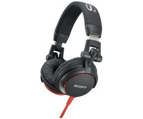 Sony Folding Swivel DJ On The Go Headphones Red Black 40mm 5-25K Hz 1.2mCord New