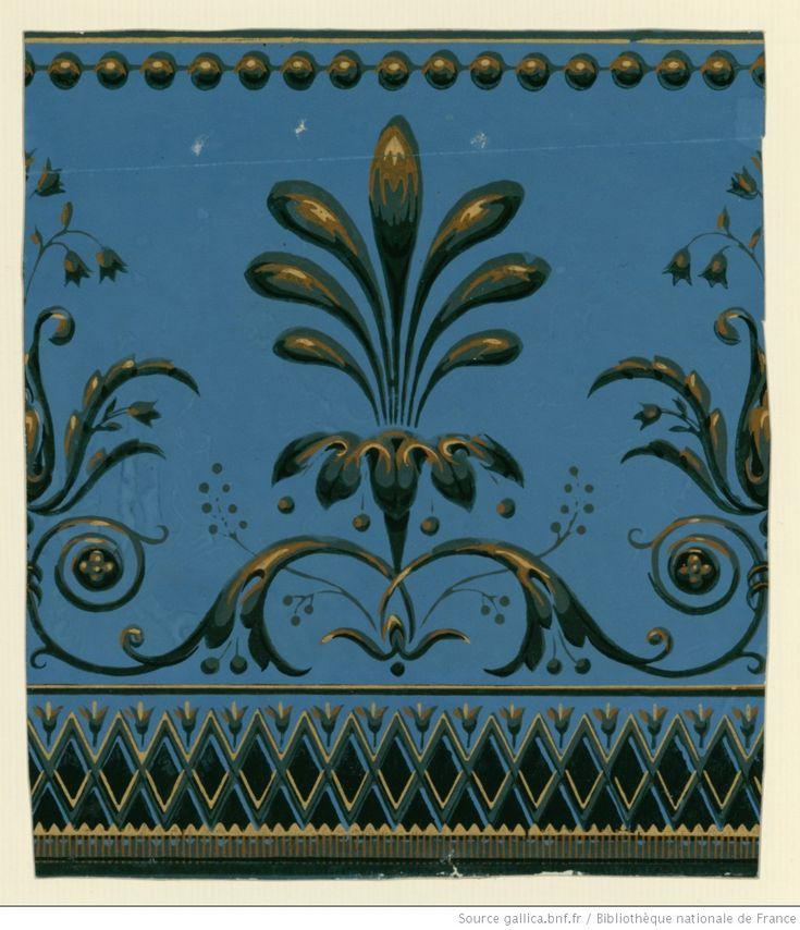 [Manufacture Hubert et Dinan. Bordure. Une bande de frise principale de palmettes et fleurons de fantaisie entre un rang de perles et une petite frise ] : [papier peint]
