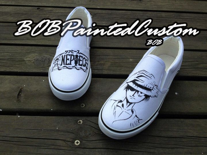 White Vans Shoes Custom Hand Painted Anime Slip On Shoes for Kids Adult Unique Fashion Shoes Online by BoBPaintedCustom on Etsy https://www.etsy.com/listing/180621809/white-vans-shoes-custom-hand-painted