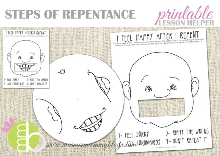This free LDS printable is perfect for Primary Lessons or Sharing Time.  You can also use it during a Family Home Evening lesson.  Print both pages on thick paper, then cut out the mouth hole and circle and attach them together with a brad.  Watch as the face gets happier as he goes through the steps of repentance.