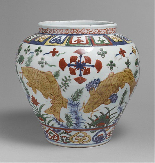 Ming dynasty (1368-1644), Jiajing mark and period (1522-66) Jar with Carp in Pond mid-16th century