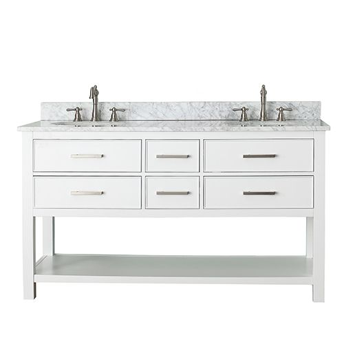 Contemporary Art Websites Avanity Brooks White Inch Vanity Combo with Carrera White Marble Top