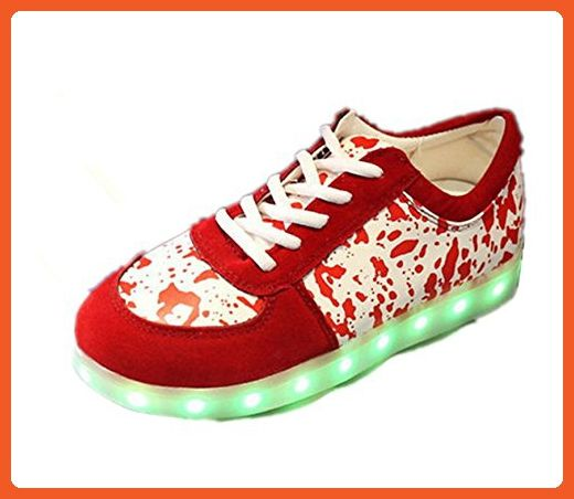 Reinhar Prevailing7 Colors LED Shoes Men& Women Flashing Fashion Sneakers Colorful Glowing Party Shoes Red/White11.5 D(M) US - Sneakers for women (*Amazon Partner-Link)