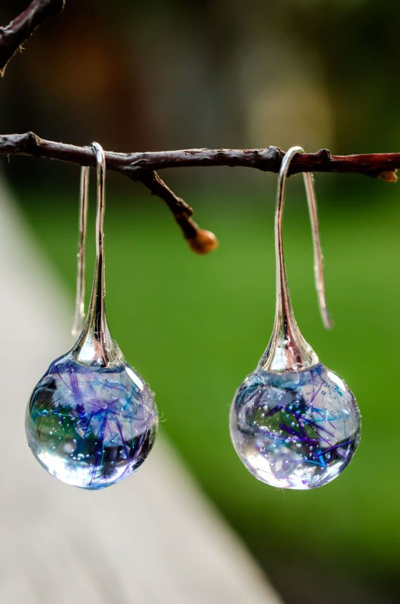 Long Earrings small ball Galaxy Magical Sphere by PAGANEuniques