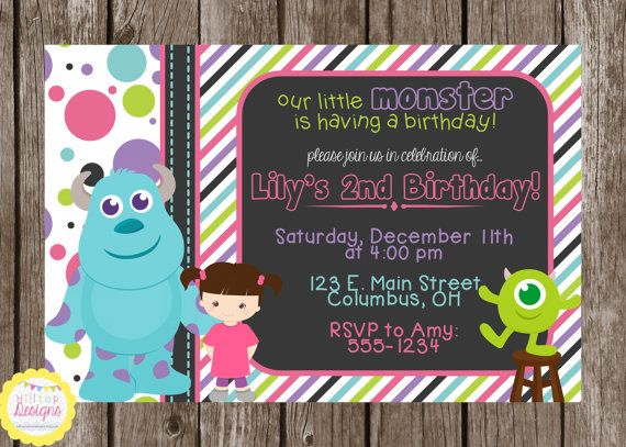 44 best monsters inc baby shower images on pinterest birthday printable monsters inc chalkboard birthday invitation with boo sully and mike you print filmwisefo