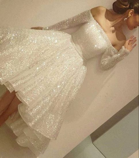 White sequins long sleeve homecoming dress,short prom dress for teens