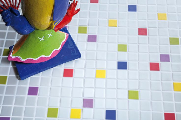 """Mixed mosaics, based on white grout. """"fresh mix"""" series"""