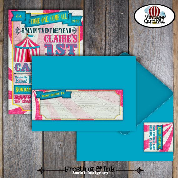 Carnival Party  Circus Party  Invitation & Wrap by frostingandink, $25.00