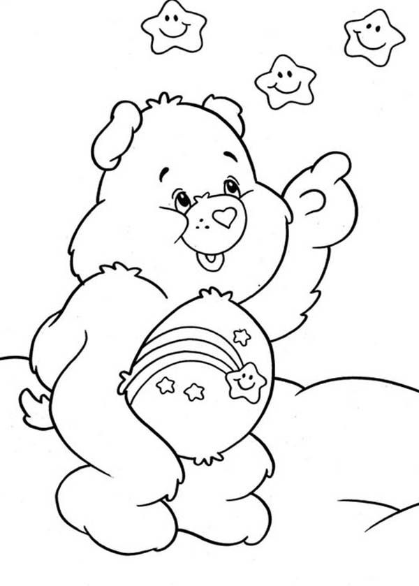 Care Bear Wish Bear Pointing At Stars In Care Bear Coloring