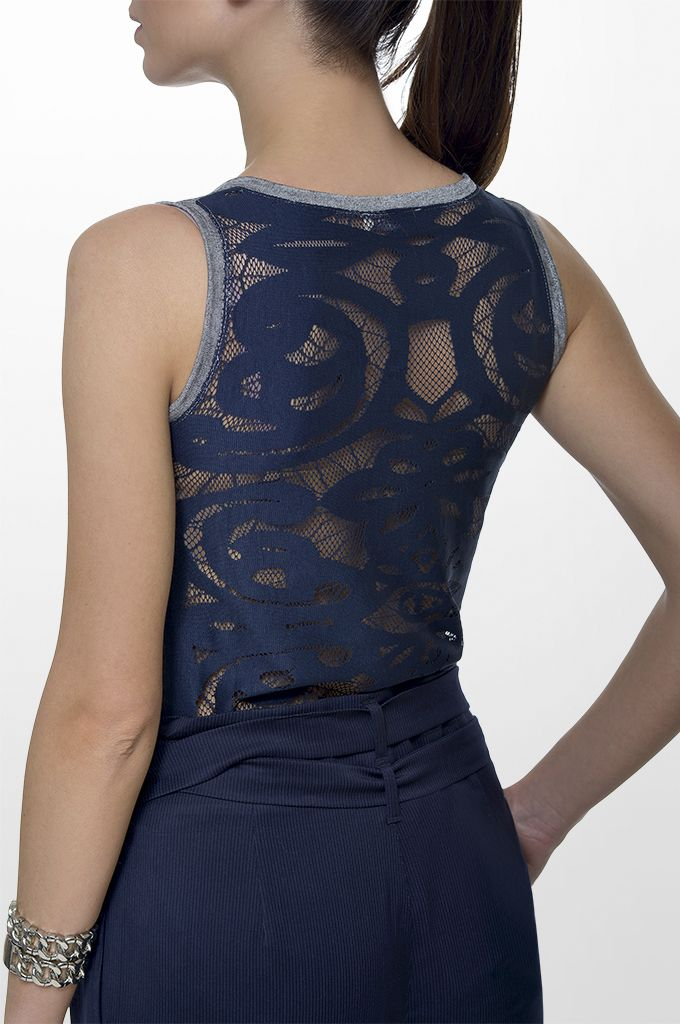 Sarah Lawrence - lurex top with back lace, cropped loose trouser with stripes.