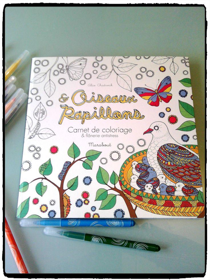 carnets de coloriage oiseaux et papillons de chez Marabout, coloriage anti stress, relaxant, enfant et adultes