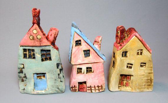 Small Ceramic Houses, Miniature Houses, Colorful, Unique