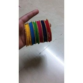 Bangle set made of silk thread in multicolour-set of four bangles