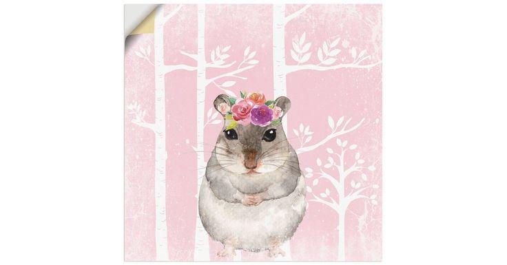 Premium Wandfolie »UtArt: Hamster mit Blumen im Wald Illustration«