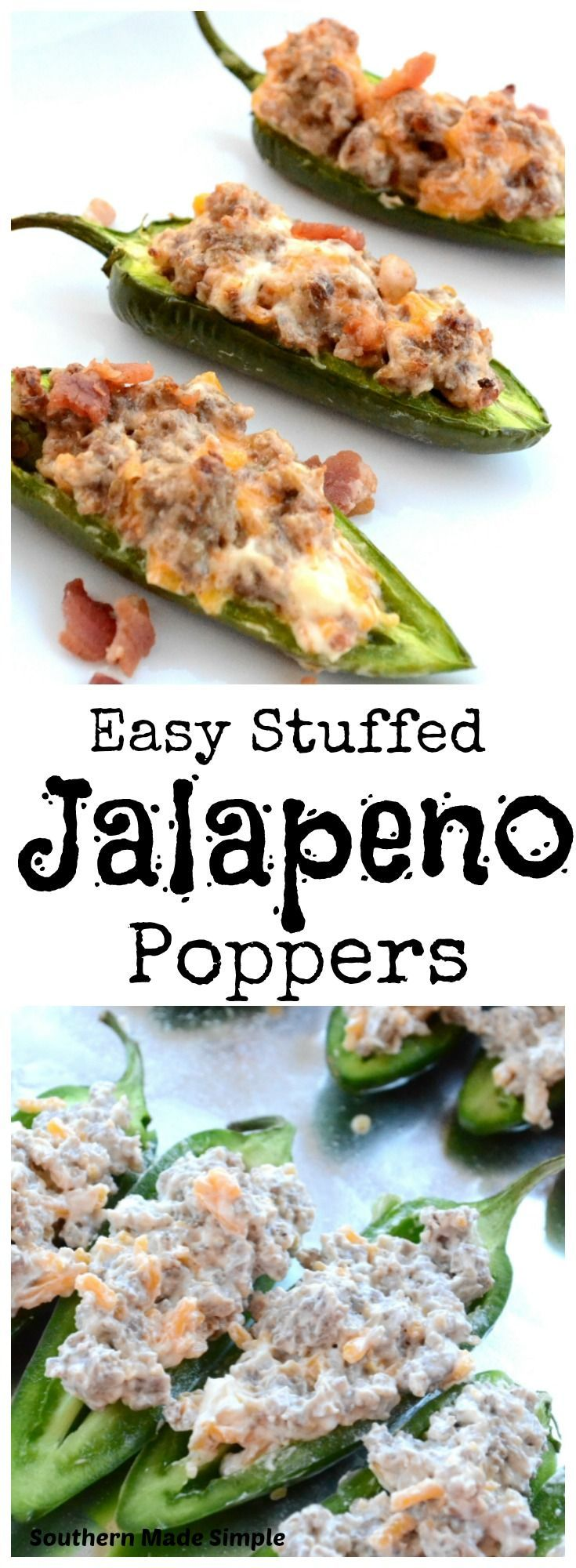 Easy sausage and cream cheese stuffed jalapeno peppers - a crazy easy appetizer that packs a delicious punch of heat!