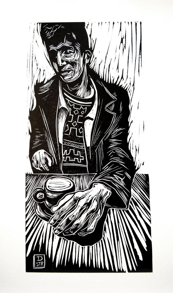 """Coffee with Riley"" linocut by Dan Strange (Deptford UK) paper: 38 cm x 28 cm , image size : 31 x 15 cm (12.2"" x 5.9"")"