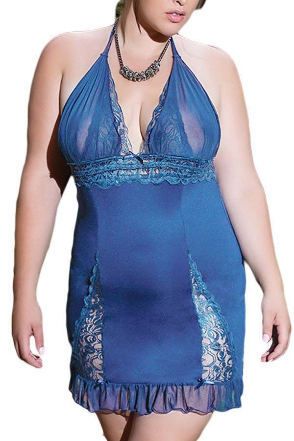 Blue Plus Size Lingerie Lace Detail Sultry Halter Chemise with Thong - wedding lingerie, mature lingerie, buy lingerie