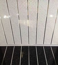 10 Platinum White Sparkle Chrome PVC Bathroom Cladding Plastic Kitchen Wet  Wall