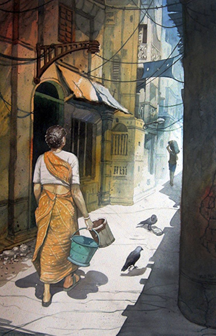 Kolkata is taking you to streets you may have never visited, mystically hiding from your eyesights. See this painting & explore the Kolkata Streets. #Painting #IndianArt #KolkataStreets
