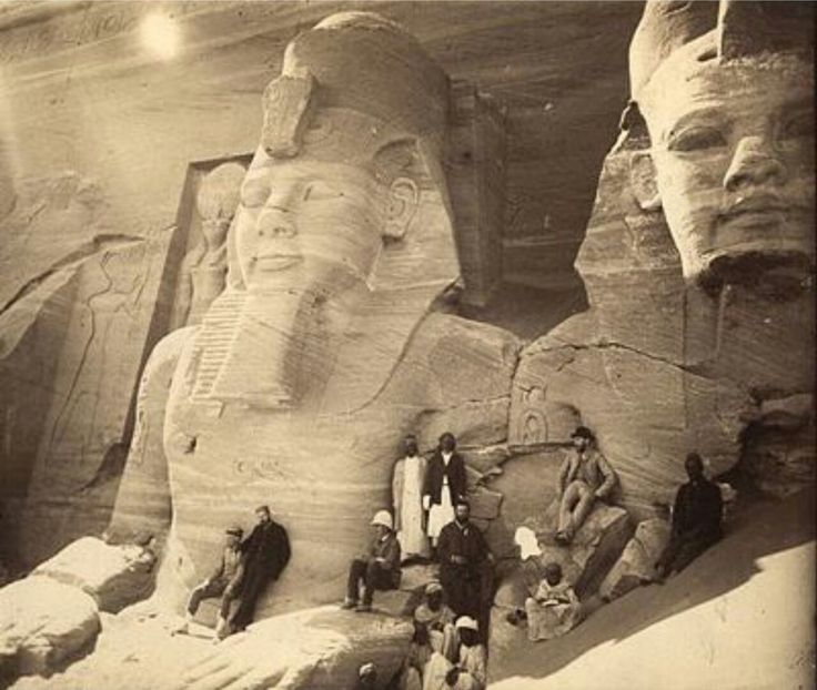 """An image of these two Egyptian monuments before their nose """"fell"""" off."""