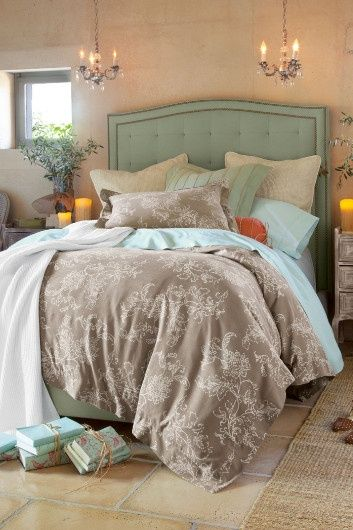 bedroom colors: gray, turquoise and coral