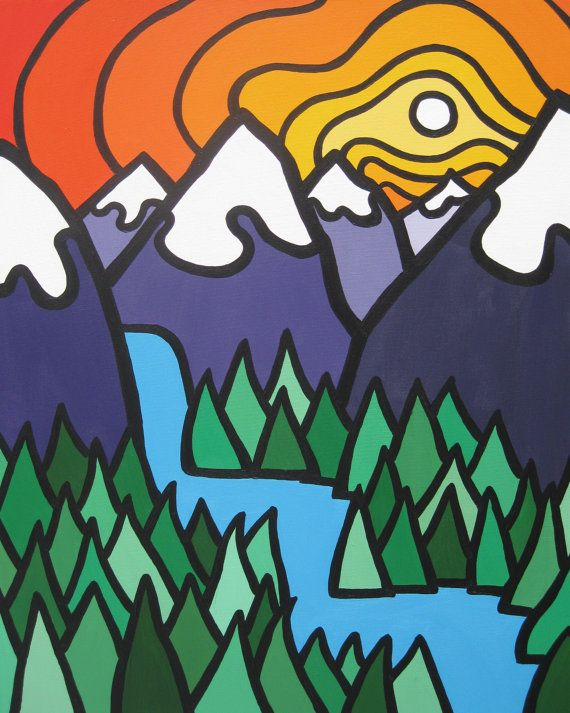 'Mountain Falls' 8x10 print by Leanne Spanza. For more information & Fun, Colourful Art visit www.facebook.com/leannespanzasart