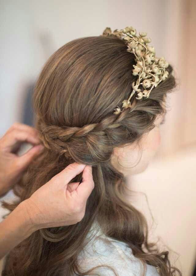 Gorgeous half up braided crown with headband..