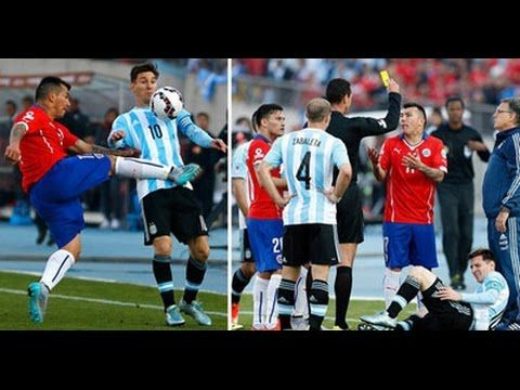 Football Copa America 2015, Lionel Messi Gets Kung Fu Kicked By Gary Med...