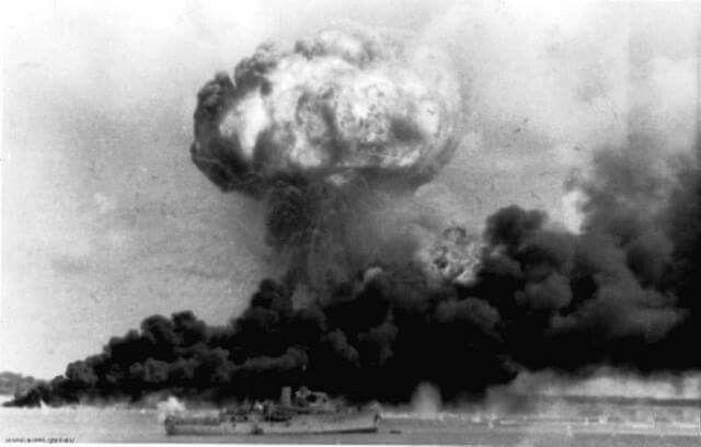 HMAS DELORAINE under the Darwin fireball Feb. 19, 1942