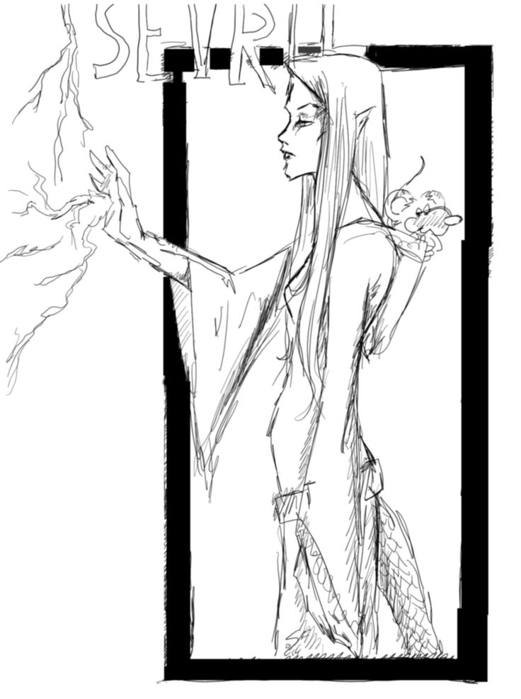Sketch of one of my favourite characters moved by me in D&D : The sourcerer Isevril.