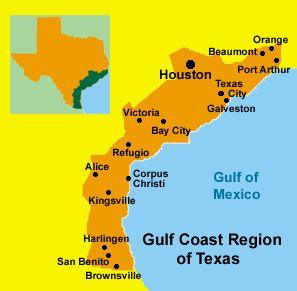 Houston. Beamont. Orange. Port Arthur. Texas City. Galveston. Victoria. Bay City. Refugo. Alice. Corpus Christi. Kingsville. Harlingen. San Benito. Brownsville. South Padre Island.