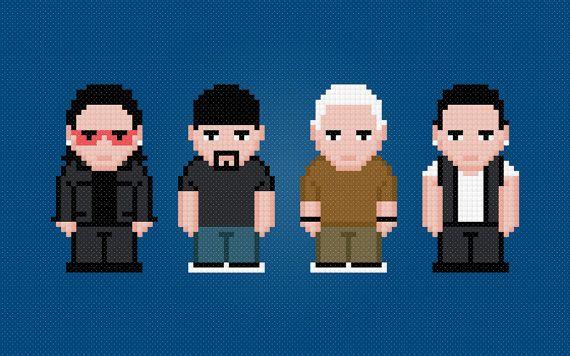 U2 Rock Band - Digital PDF Cross Stitch Pattern
