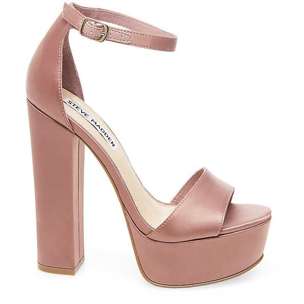 Steve Madden Gonzo Heels ($90) ❤ liked on Polyvore featuring shoes, pumps, mauve, high heel pumps, mauve shoes, high heel shoes, ankle strap shoes and platform shoes