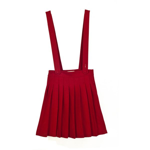 Japanese preppy style, Retro, wool suspender skirt with high waist for... ❤ liked on Polyvore featuring skirts, red knee length skirt, high-waisted skirts, navy wool skirt, navy skirt and retro skirt