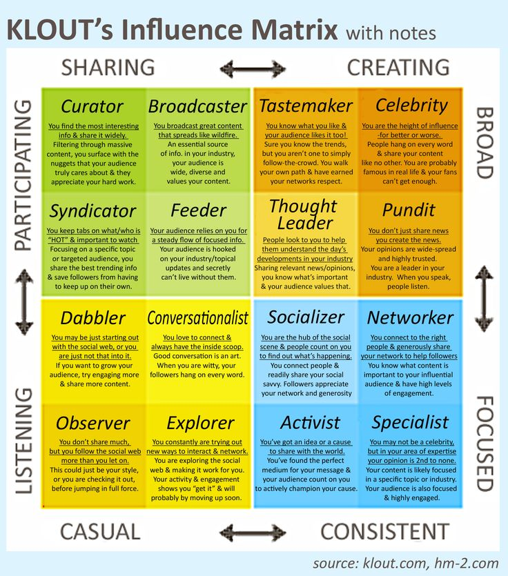 KLOUT's influence Matrix