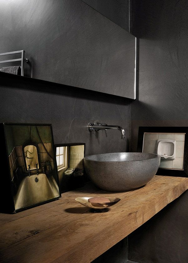 Masculine and Rustic Modern Bathroom. The Mirror is hinged to lift up, revealing storage, clever.