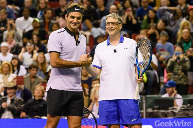 Bill Gates and Roger Federer will play tennis again to raise money for charity this time in the Bay Area Roger Federer and Bill Gates celebrate during their doubles match against John Isner and Mike McCready at Key Arena on Saturday in Seattle at the Match for Africa 4 which supports the Roger Federer Foundation. (GeekWire photos / Kevin Lisota)  Its Bill Gates vs. Roger Federer round two.  The Microsoft co-founder and tennis legend are getting together on the court again to helpraise money…
