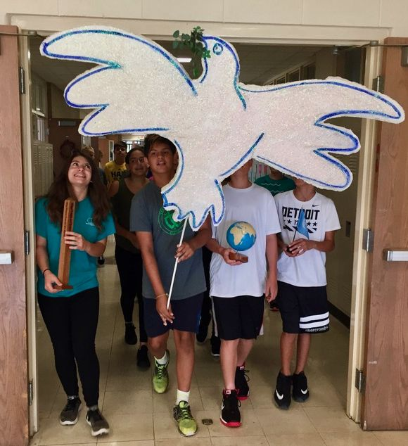 Dearborn Heights students sing, parade around school to celebrate International Day of Peace